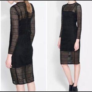 Zara Woman Lattice Crochet Midi Dress L